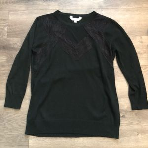 Black sweater with lace detail